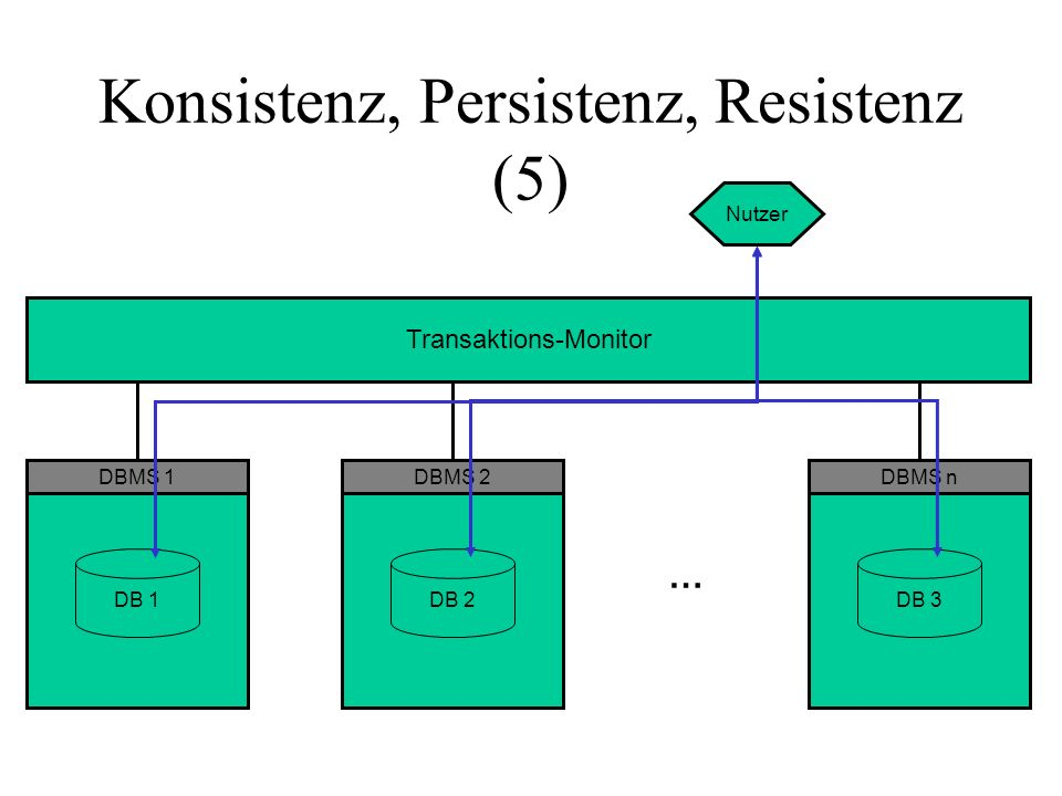 Hauptkomponenten eines DBMS Datenbasis-Manager bildet Datenmodell auf Geräteschnittstelle ab Schicht n Schicht n-1 Schicht n-2 Transaktions- Verwaltung synchronisiert nebenläufige Transaktionen stellt Resistenz sicher Daten- Wörterbuch hält Hilfsdaten zur Daten- beschreibung für jede Schicht