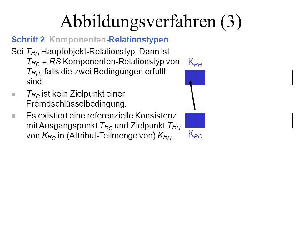 Abbildungsverfahren (3) Schritt 2: Komponenten-Relationstypen: Sei T R H Hauptobjekt-Relationstyp.