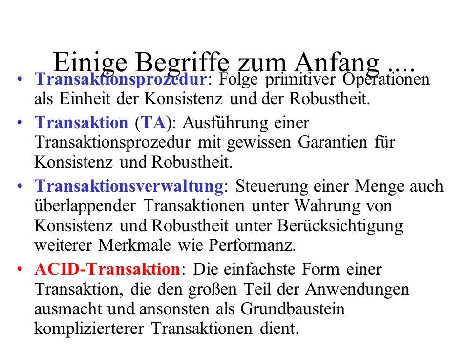 Einige Begriffe zum Anfang.... Transaktionsprozedur: Folge primitiver Operationen als Einheit der Konsistenz und der Robustheit. Transaktion (TA): Aus