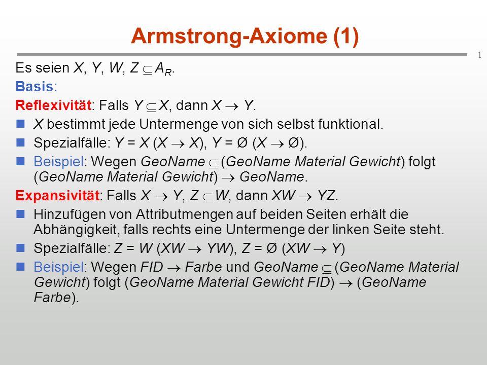 1 Armstrong-Axiome (1) Es seien X, Y, W, Z A R. Basis: Reflexivität: Falls Y X, dann X Y. X bestimmt jede Untermenge von sich selbst funktional. Spezi