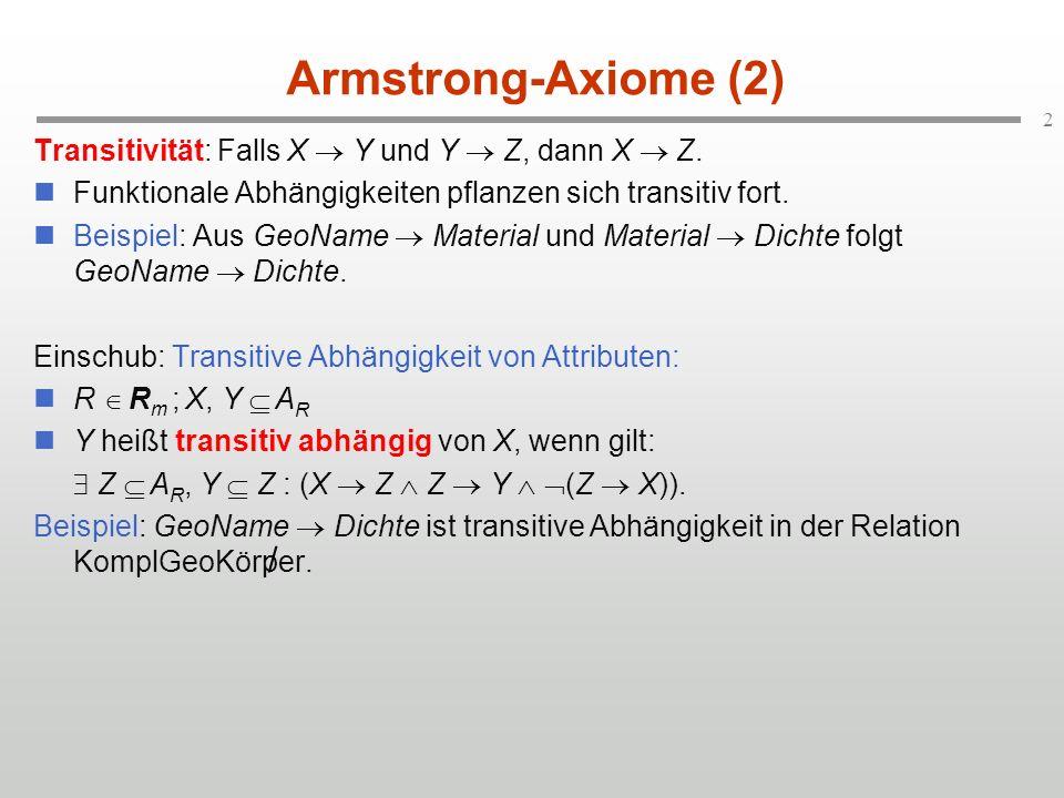 2 Armstrong-Axiome (2) Transitivität: Falls X Y und Y Z, dann X Z. Funktionale Abhängigkeiten pflanzen sich transitiv fort. Beispiel: Aus GeoName Mate