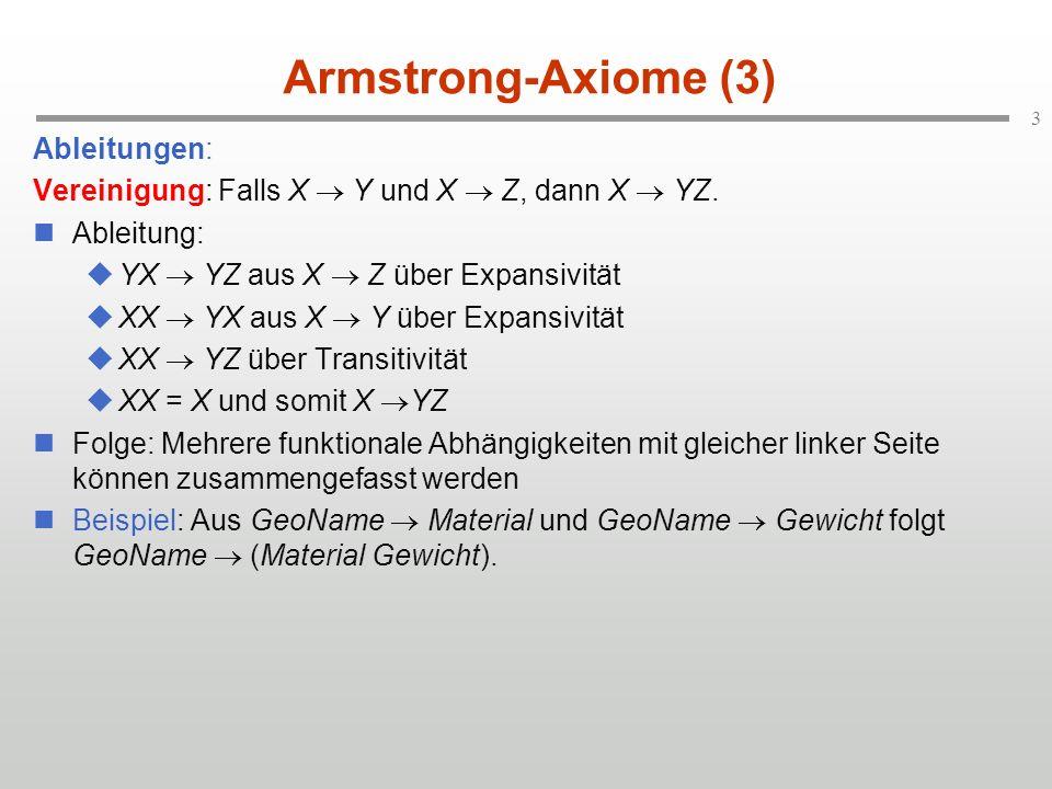 3 Armstrong-Axiome (3) Ableitungen: Vereinigung: Falls X Y und X Z, dann X YZ. Ableitung: YX YZ aus X Z über Expansivität XX YX aus X Y über Expansivi