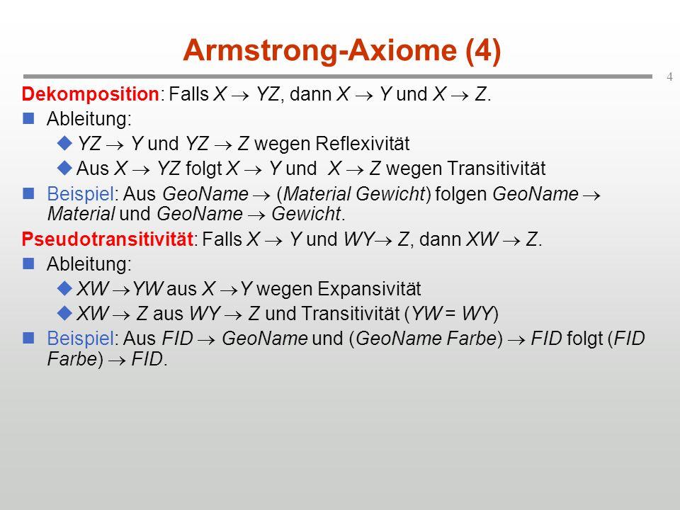 4 Armstrong-Axiome (4) Dekomposition: Falls X YZ, dann X Y und X Z. Ableitung: YZ Y und YZ Z wegen Reflexivität Aus X YZ folgt X Y und X Z wegen Trans