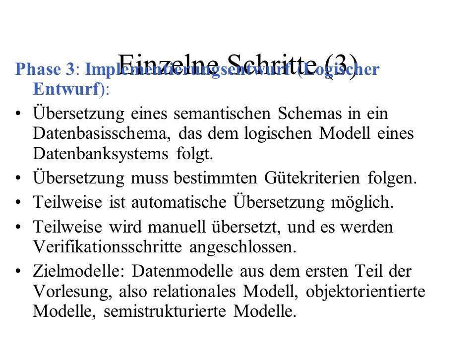 Einzelne Schritte (3) Phase 3: Implementierungsentwurf (Logischer Entwurf): Übersetzung eines semantischen Schemas in ein Datenbasisschema, das dem lo