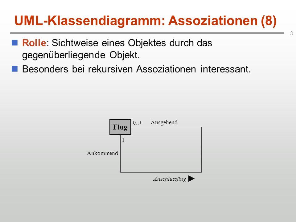 8 UML-Klassendiagramm: Assoziationen (8) Rolle: Sichtweise eines Objektes durch das gegenüberliegende Objekt. Besonders bei rekursiven Assoziationen i