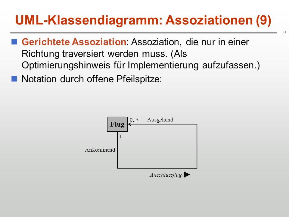 9 UML-Klassendiagramm: Assoziationen (9) Gerichtete Assoziation: Assoziation, die nur in einer Richtung traversiert werden muss. (Als Optimierungshinw