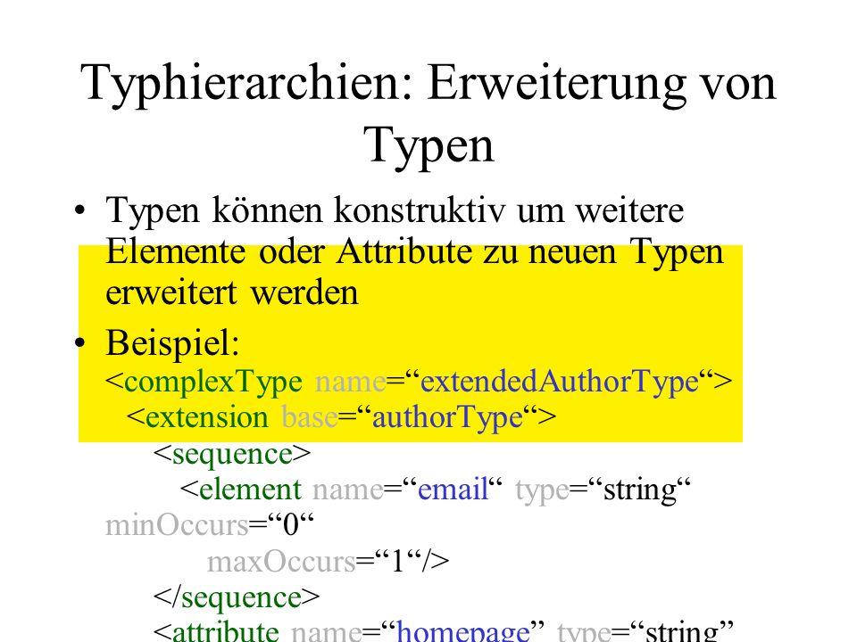 Typhierarchien: Erweiterung von Typen Typen können konstruktiv um weitere Elemente oder Attribute zu neuen Typen erweitert werden Beispiel: Erweitert