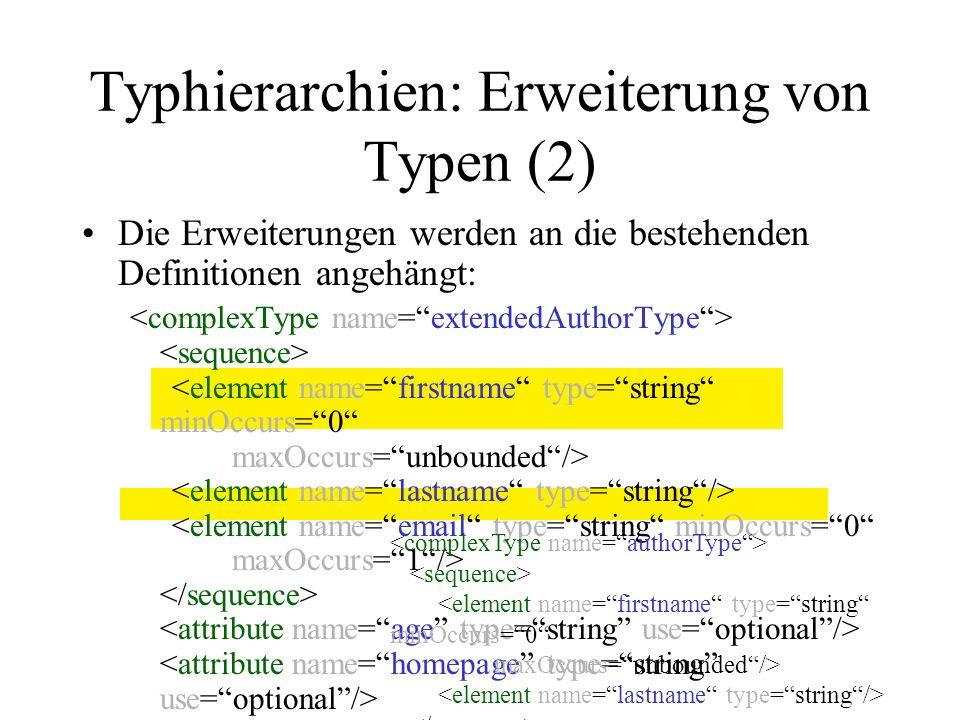 Typhierarchien: Restriktion von Typen Typen werden durch Verschärfung von Zusatzangaben bei Typdefinitionen in ihrer Wertemenge eingeschränkt Beispiele für Restriktionen: –Bisher nicht angebene type-, default- oder fixed- Attribute –Verschärfung der Kardinalitäten minOccurs, maxOccurs Substituierbarkeit –Menge der Instanzen des eingeschränkten Untertyps muss immer eine Teilmenge des Obertyps sein.