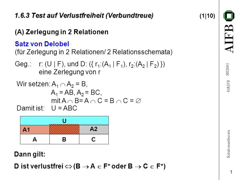 Relationentheorie AIFB SS2001 1 Wir setzen: A 1 A 2 = B, A 1 = AB, A 2 = BC, mit A B= A C = B C = Damit ist: U = ABC 1.6.3 Test auf Verlustfreiheit (Verbundtreue) 1.6.3 Test auf Verlustfreiheit (Verbundtreue) (1|10) (A) Zerlegung in 2 Relationen Satz von Delobel (für Zerlegung in 2 Relationen/ 2 Relationsschemata) Geg.: r: (U | F), und D: ({ r 1 :(A 1 | F 1 ), r 2 :(A 2 | F 2 ) }) eine Zerlegung von r A1 U A2 CBA Dann gilt: D ist verlustfrei (B A F + oder B C F + )