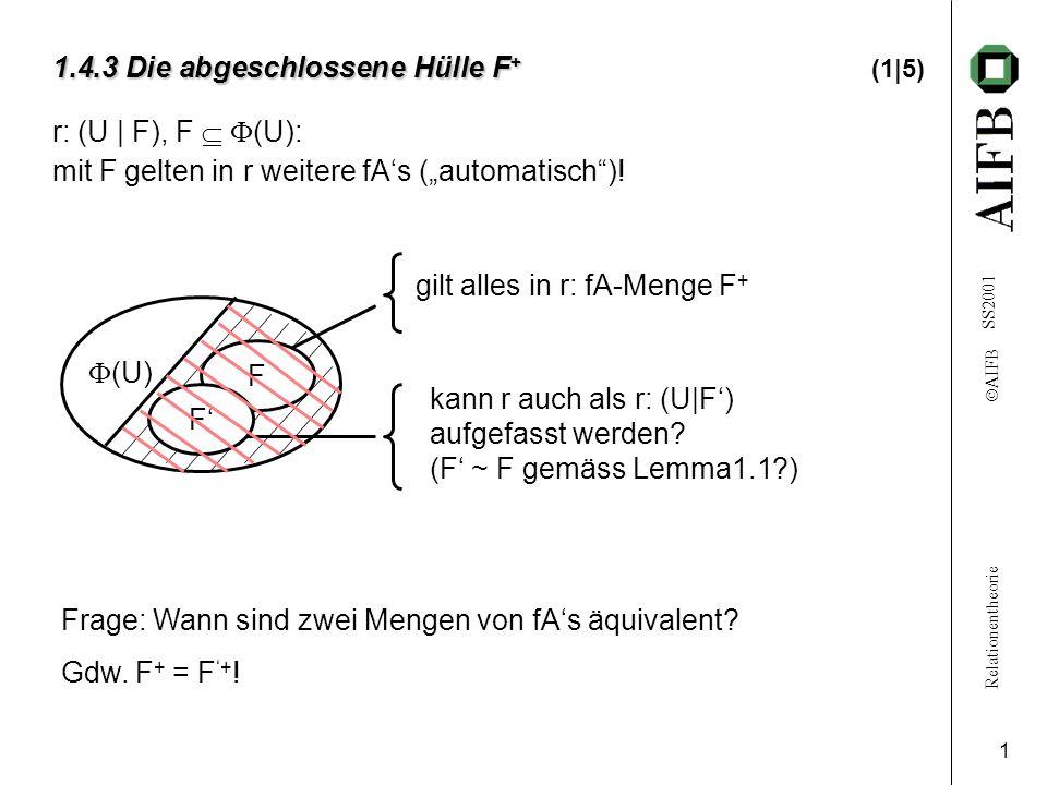 Relationentheorie AIFB SS2001 2 1.4.3 Die abgeschlossene Hülle F + 1.4.3 Die abgeschlossene Hülle F + (2|5) Definition: Zu r: (U | F), F (U) ist F + ::= Menge aller fAs, die mit F in r gelten, die abgeschlossene Hülle von F.