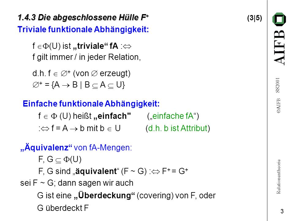 Relationentheorie AIFB SS2001 3 1.4.3 Die abgeschlossene Hülle F + 1.4.3 Die abgeschlossene Hülle F + (3|5) Triviale funktionale Abhängigkeit: f (U) i