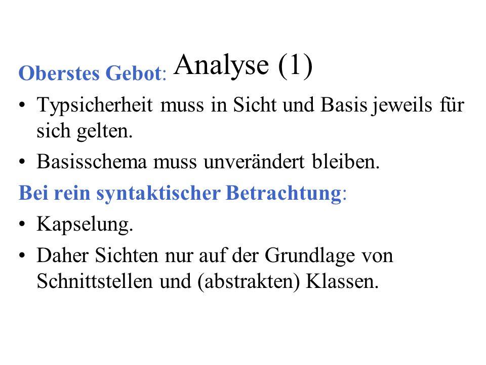 Analyse (1) Oberstes Gebot: Typsicherheit muss in Sicht und Basis jeweils für sich gelten. Basisschema muss unverändert bleiben. Bei rein syntaktische