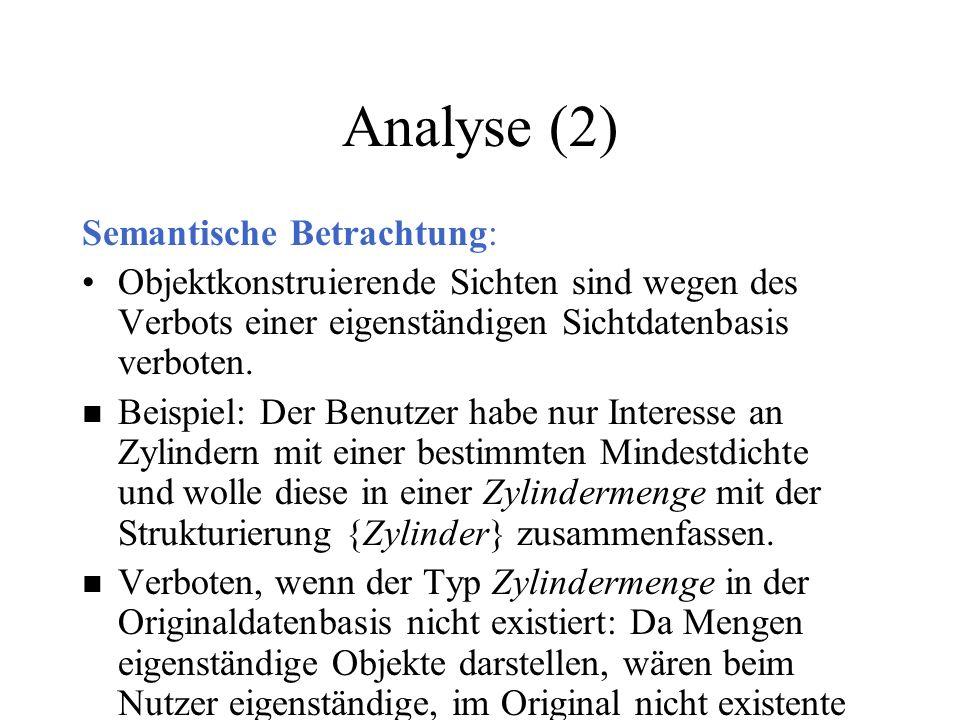 Analyse (2) Semantische Betrachtung: Objektkonstruierende Sichten sind wegen des Verbots einer eigenständigen Sichtdatenbasis verboten. n Beispiel: De