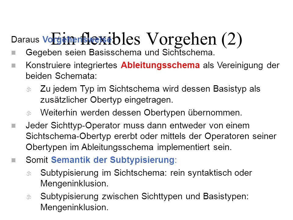 Ein flexibles Vorgehen (2) Daraus Vorgehensweise: n Gegeben seien Basisschema und Sichtschema. n Konstruiere integriertes Ableitungsschema als Vereini