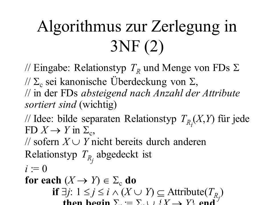 Algorithmus zur Zerlegung in 3NF (2) // Eingabe: Relationstyp T R und Menge von FDs // c sei kanonische Überdeckung von, // in der FDs absteigend nach