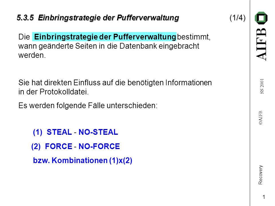 Recovery AIFB SS 2001 1 5.3.5 Einbringstrategie der Pufferverwaltung(1/4) Die bestimmt, wann geänderte Seiten in die Datenbank eingebracht werden.