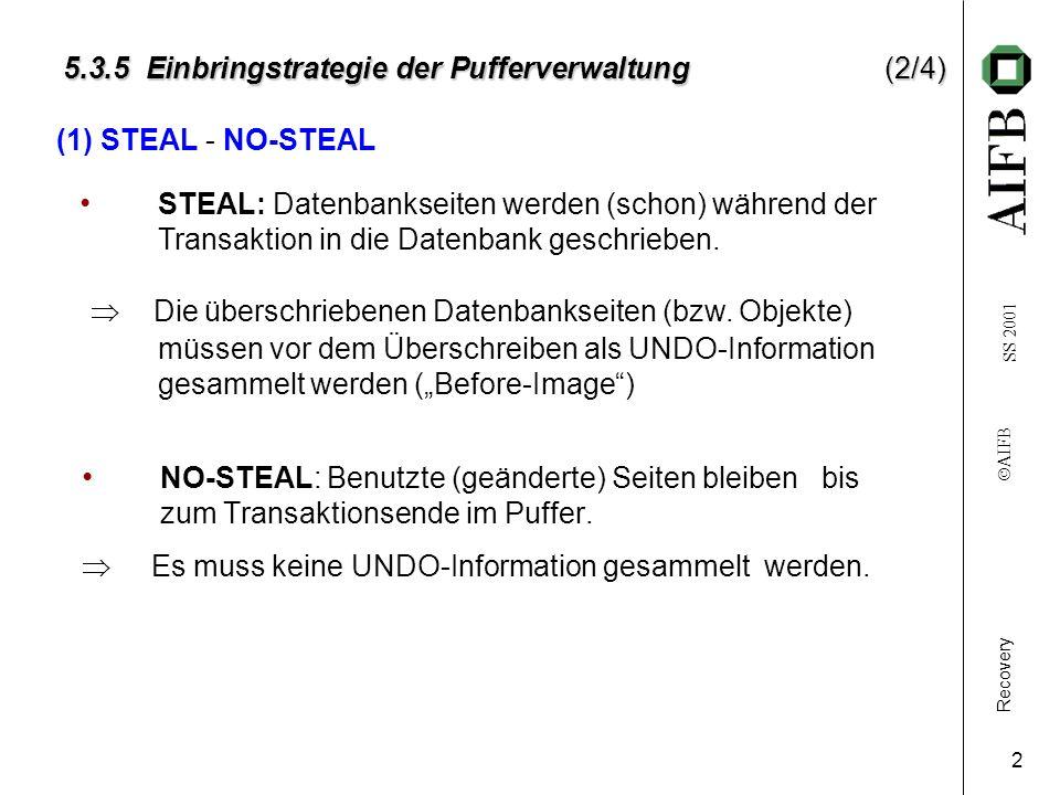 Recovery AIFB SS 2001 2 5.3.5 Einbringstrategie der Pufferverwaltung(2/4) NO-STEAL: Benutzte (geänderte) Seiten bleiben bis zum Transaktionsende im Puffer.
