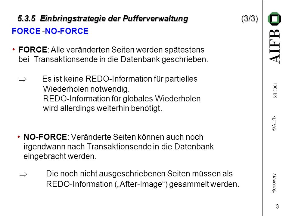 Recovery AIFB SS 2001 4 5.3.5 Einbringstrategie der Pufferverwaltung 5.3.5 Einbringstrategie der Pufferverwaltung COMMIT STEAL/NO-FORCE NO-STEAL/NO-FORCE STEAL/FORCE NO-STEAL/FORCE t Einbringstrategie – die 4 möglichen Alternative