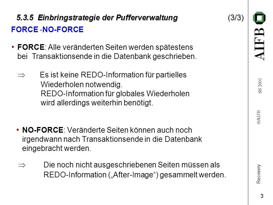 Recovery AIFB SS 2001 3 5.3.5 Einbringstrategie der Pufferverwaltung(3/3) NO-FORCE: Veränderte Seiten können auch noch irgendwann nach Transaktionsende in die Datenbank eingebracht werden.