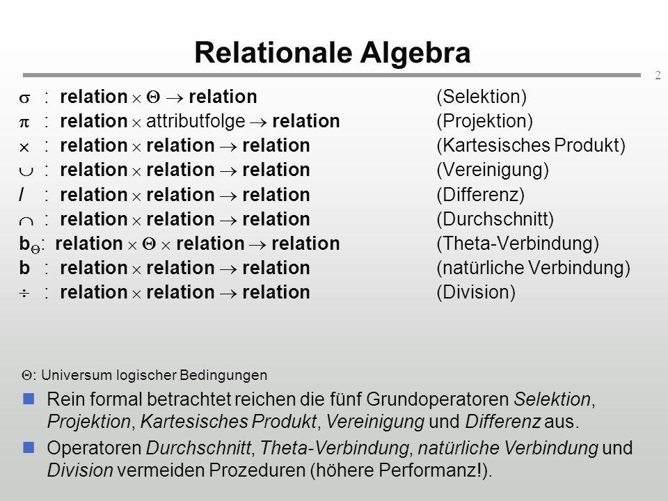 2 Relationale Algebra : relation relation (Selektion) : relation attributfolge relation (Projektion) : relation relation relation(Kartesisches Produkt) : relation relation relation(Vereinigung) /: relation relation relation(Differenz) : relation relation relation(Durchschnitt) b : relation relation relation (Theta-Verbindung) b: relation relation relation(natürliche Verbindung) : relation relation relation(Division) : Universum logischer Bedingungen Rein formal betrachtet reichen die fünf Grundoperatoren Selektion, Projektion, Kartesisches Produkt, Vereinigung und Differenz aus.