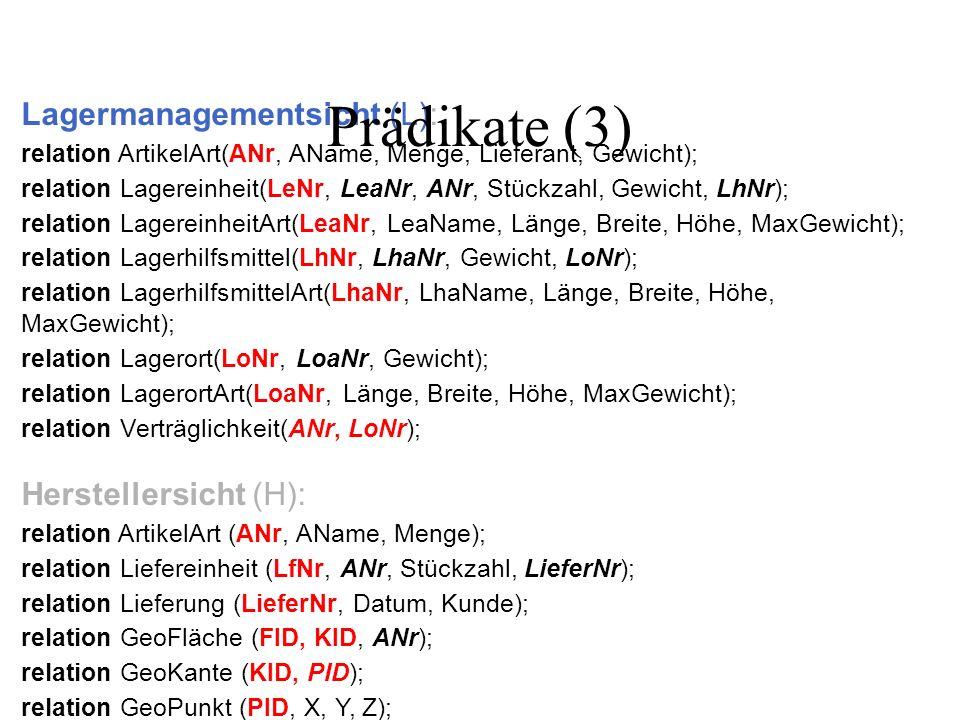 Lagermanagementsicht (L): relation ArtikelArt(ANr, AName, Menge, Lieferant, Gewicht); relation Lagereinheit(LeNr, LeaNr, ANr, Stückzahl, Gewicht, LhNr