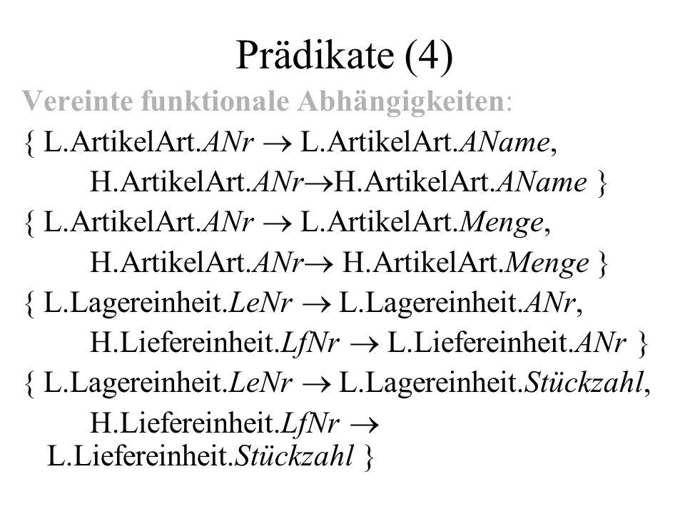 Prädikate (4) Vereinte funktionale Abhängigkeiten: { L.ArtikelArt.ANr L.ArtikelArt.AName, H.ArtikelArt.ANr H.ArtikelArt.AName } { L.ArtikelArt.ANr L.ArtikelArt.Menge, H.ArtikelArt.ANr H.ArtikelArt.Menge } { L.Lagereinheit.LeNr L.Lagereinheit.ANr, H.Liefereinheit.LfNr L.Liefereinheit.ANr } { L.Lagereinheit.LeNr L.Lagereinheit.Stückzahl, H.Liefereinheit.LfNr L.Liefereinheit.Stückzahl }