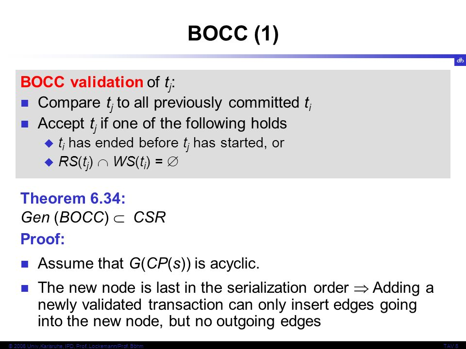 133 © 2006 Univ,Karlsruhe, IPD, Prof. Lockemann/Prof. BöhmTAV 6 BOCC (1) BOCC validation of t j : Compare t j to all previously committed t i Accept t