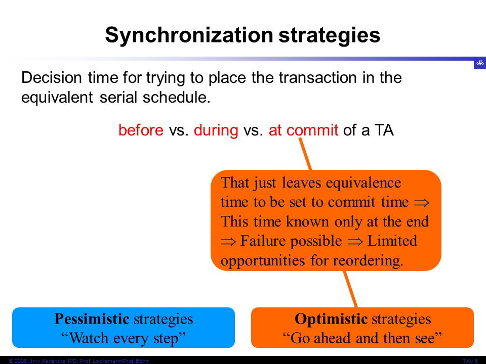 9 © 2006 Univ,Karlsruhe, IPD, Prof. Lockemann/Prof. BöhmTAV 6 Synchronization strategies Decision time for trying to place the transaction in the equi