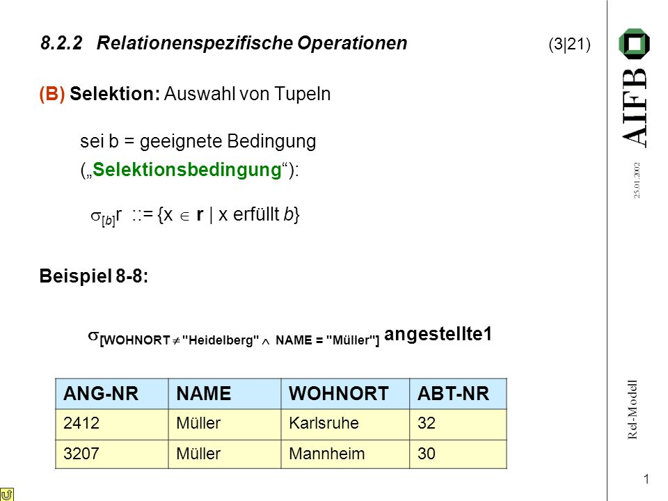 Rel-Modell 25.01.2002 1 8.2.2Relationenspezifische Operationen (3|21) (B) Selektion: Auswahl von Tupeln sei b = geeignete Bedingung (Selektionsbedingu