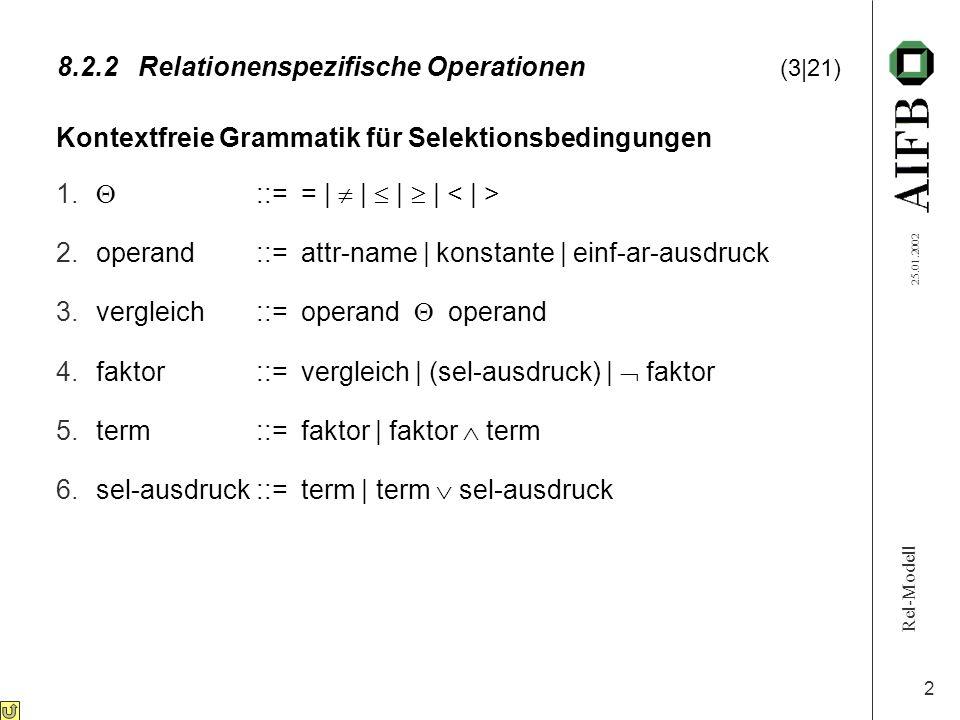 Rel-Modell 25.01.2002 2 8.2.2Relationenspezifische Operationen (3|21) Kontextfreie Grammatik für Selektionsbedingungen 1. ::= = | | | | 2.operand::= a