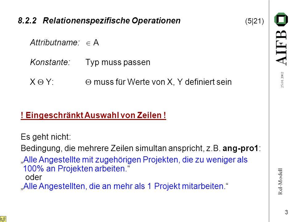 Rel-Modell 25.01.2002 3 8.2.2Relationenspezifische Operationen (5|21) Attributname: A Konstante:Typ muss passen X Y: muss für Werte von X, Y definiert