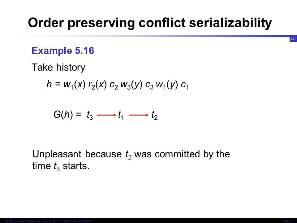 24 © 2006 Univ,Karlsruhe, IPD, Prof. Lockemann/Prof. BöhmTAV 5 Order preserving conflict serializability Example 5.16 Take history h = w 1 (x) r 2 (x)