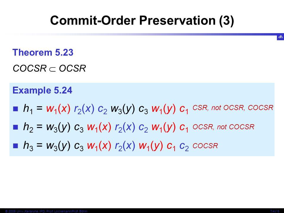 29 © 2006 Univ,Karlsruhe, IPD, Prof. Lockemann/Prof. BöhmTAV 5 Commit-Order Preservation (3) Theorem 5.23 COCSR OCSR Example 5.24 h 1 = w 1 (x) r 2 (x