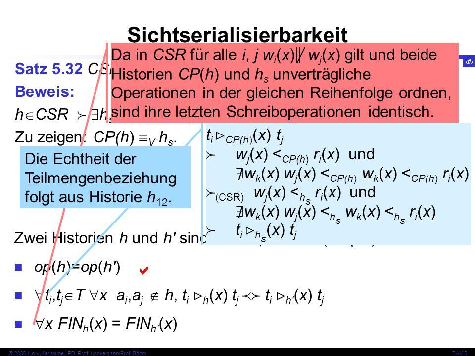 38 © 2006 Univ,Karlsruhe, IPD, Prof. Lockemann/Prof. BöhmTAV 5 Sichtserialisierbarkeit Satz 5.32 CSR VSR Beweis: h CSR h s seriell CP(h) C h s Zu zeig