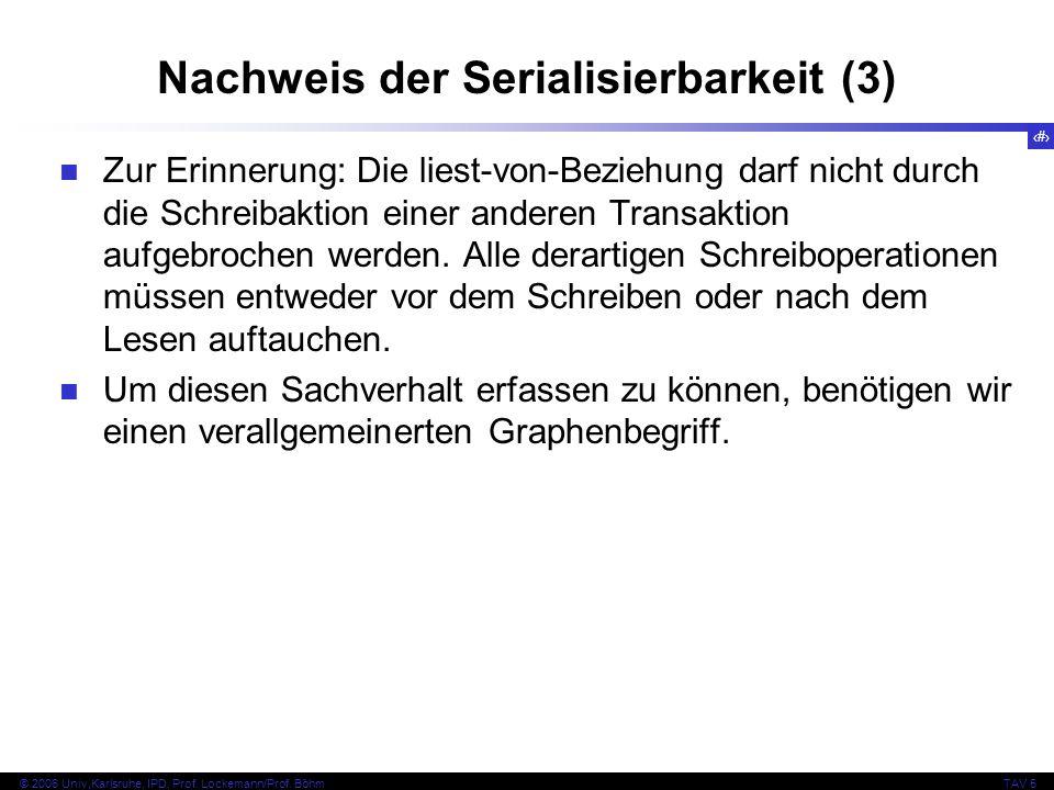 39 © 2006 Univ,Karlsruhe, IPD, Prof. Lockemann/Prof. BöhmTAV 5 Nachweis der Serialisierbarkeit (3) Zur Erinnerung: Die liest-von-Beziehung darf nicht