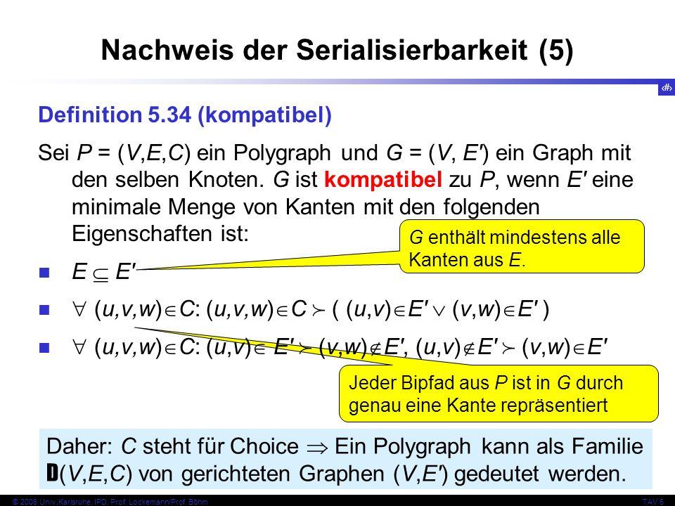 42 © 2006 Univ,Karlsruhe, IPD, Prof. Lockemann/Prof. BöhmTAV 5 Jeder Bipfad aus P ist in G durch genau eine Kante repräsentiert Nachweis der Serialisi