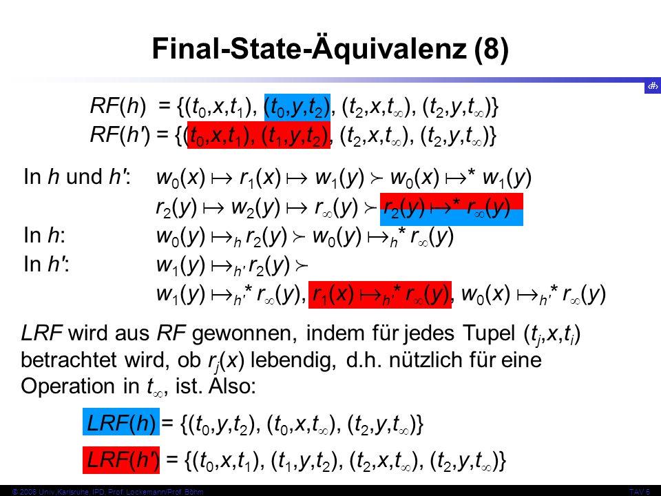 69 © 2006 Univ,Karlsruhe, IPD, Prof. Lockemann/Prof. BöhmTAV 5 Final-State-Äquivalenz (8) RF(h) = {(t 0,x,t 1 ), (t 0,y,t 2 ), (t 2,x,t ), (t 2,y,t )}