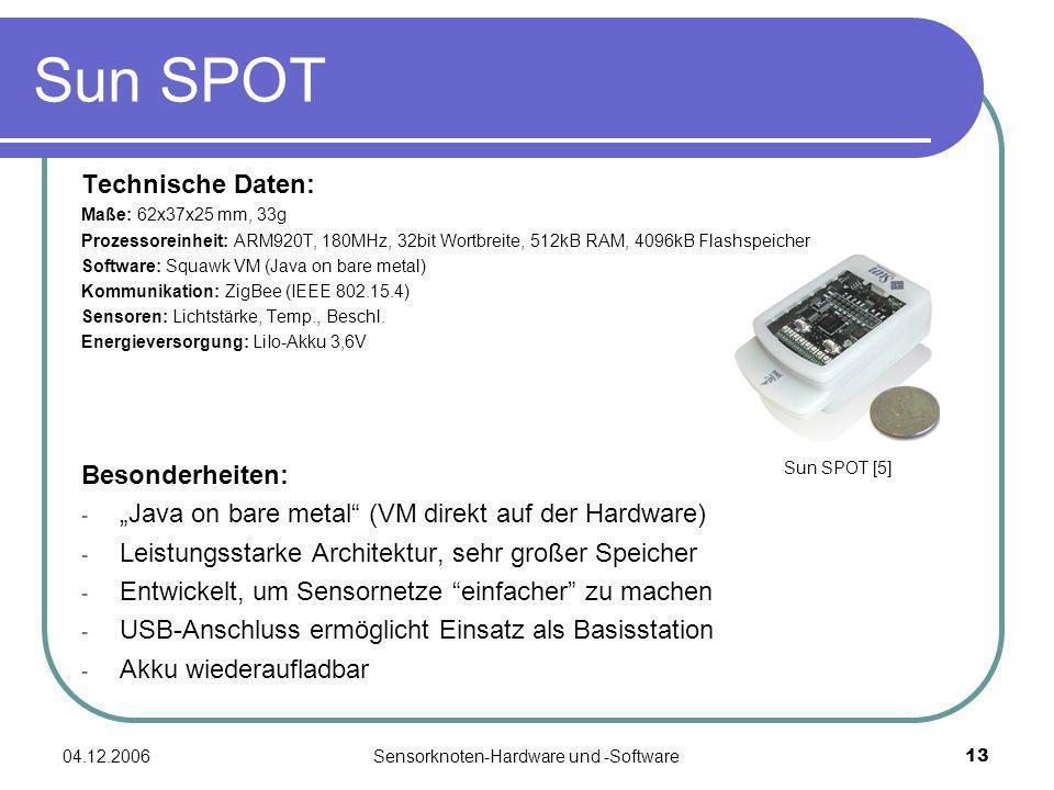 04.12.2006Sensorknoten-Hardware und -Software13 Technische Daten: Maße: 62x37x25 mm, 33g Prozessoreinheit: ARM920T, 180MHz, 32bit Wortbreite, 512kB RA