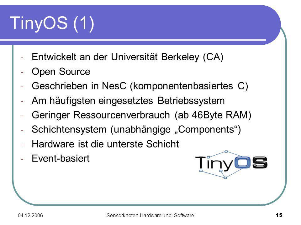 04.12.2006Sensorknoten-Hardware und -Software15 TinyOS (1) - Entwickelt an der Universität Berkeley (CA) - Open Source - Geschrieben in NesC (komponentenbasiertes C) - Am häufigsten eingesetztes Betriebssystem - Geringer Ressourcenverbrauch (ab 46Byte RAM) - Schichtensystem (unabhängige Components) - Hardware ist die unterste Schicht - Event-basiert