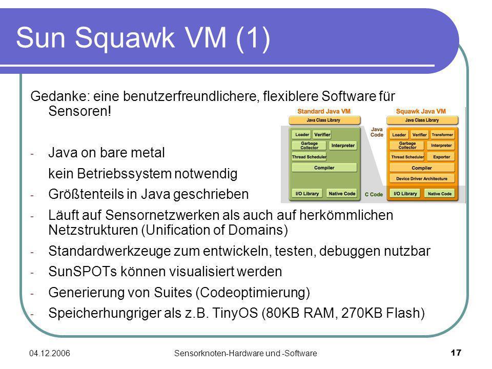 04.12.2006Sensorknoten-Hardware und -Software17 Sun Squawk VM (1) Gedanke: eine benutzerfreundlichere, flexiblere Software für Sensoren! - Java on bar