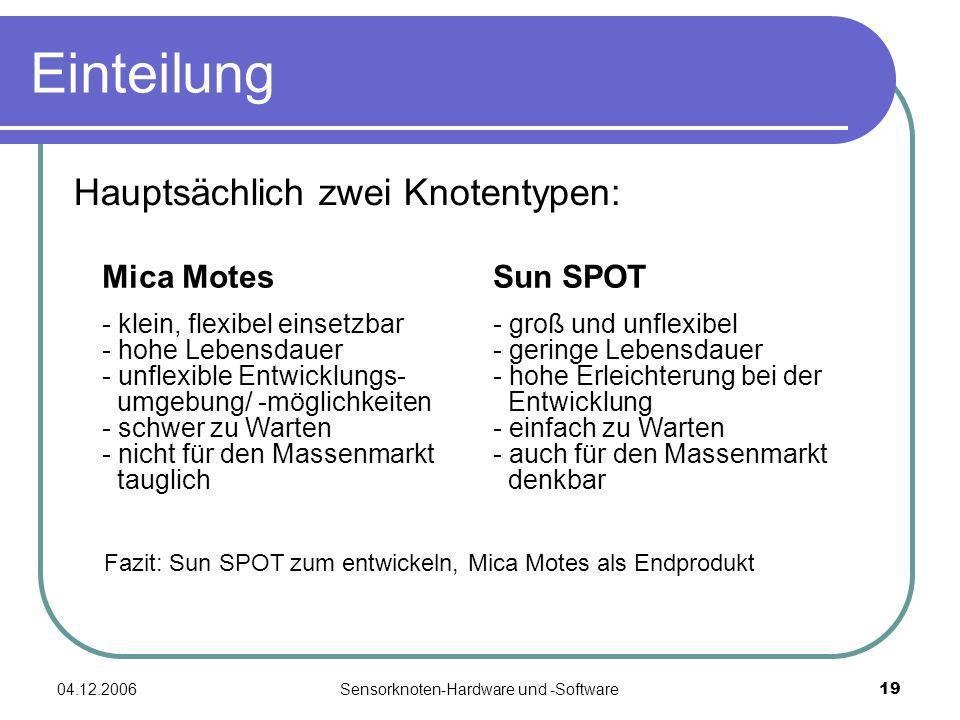 04.12.2006Sensorknoten-Hardware und -Software19 Einteilung Hauptsächlich zwei Knotentypen: Sun SPOT - groß und unflexibel - geringe Lebensdauer - hohe