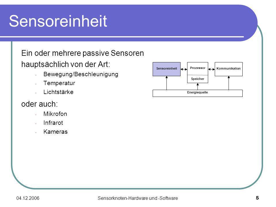 04.12.2006Sensorknoten-Hardware und -Software5 Sensoreinheit Ein oder mehrere passive Sensoren hauptsächlich von der Art: - Bewegung/Beschleunigung -