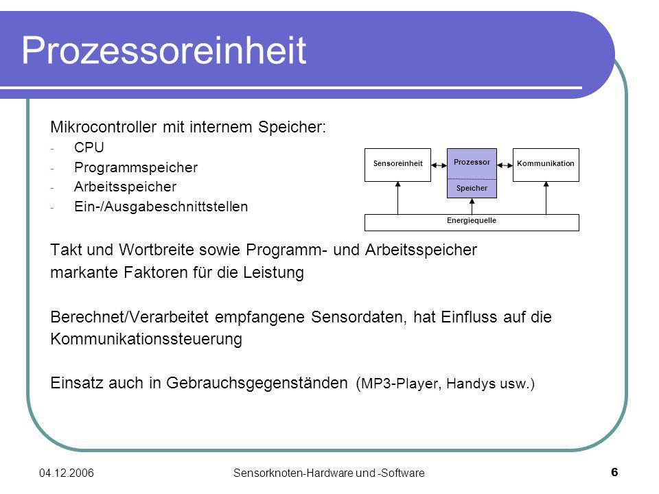 04.12.2006Sensorknoten-Hardware und -Software6 Prozessoreinheit Mikrocontroller mit internem Speicher: - CPU - Programmspeicher - Arbeitsspeicher - Ei