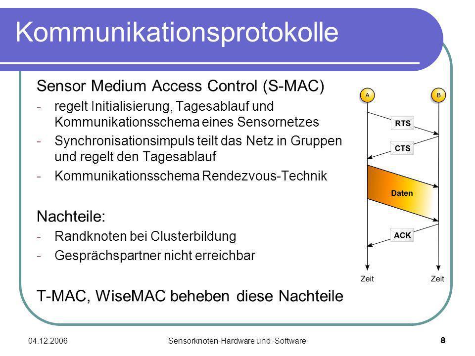 04.12.2006Sensorknoten-Hardware und -Software19 Einteilung Hauptsächlich zwei Knotentypen: Sun SPOT - groß und unflexibel - geringe Lebensdauer - hohe Erleichterung bei der Entwicklung - einfach zu Warten - auch für den Massenmarkt denkbar Mica Motes - klein, flexibel einsetzbar - hohe Lebensdauer - unflexible Entwicklungs- umgebung/ -möglichkeiten - schwer zu Warten - nicht für den Massenmarkt tauglich Fazit: Sun SPOT zum entwickeln, Mica Motes als Endprodukt