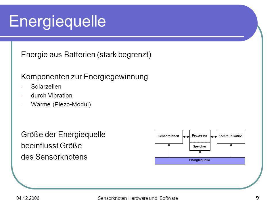 04.12.2006Sensorknoten-Hardware und -Software9 Energiequelle Energie aus Batterien (stark begrenzt) Komponenten zur Energiegewinnung - Solarzellen - d