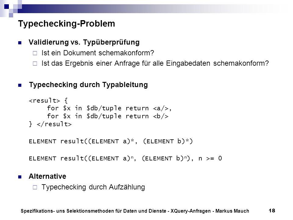 Spezifikations- uns Selektionsmethoden für Daten und Dienste - XQuery-Anfragen - Markus Mauch18 Typechecking-Problem Validierung vs.