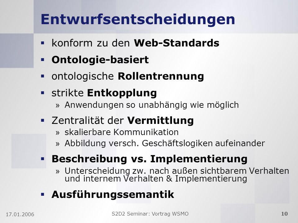 S2D2 Seminar: Vortrag WSMO10 17.01.2006 Entwurfsentscheidungen konform zu den Web-Standards Ontologie-basiert ontologische Rollentrennung strikte Entk