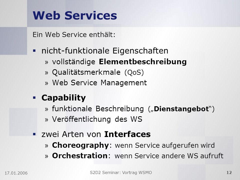 S2D2 Seminar: Vortrag WSMO12 17.01.2006 Web Services Ein Web Service enthält: nicht-funktionale Eigenschaften » vollständige Elementbeschreibung » Qua
