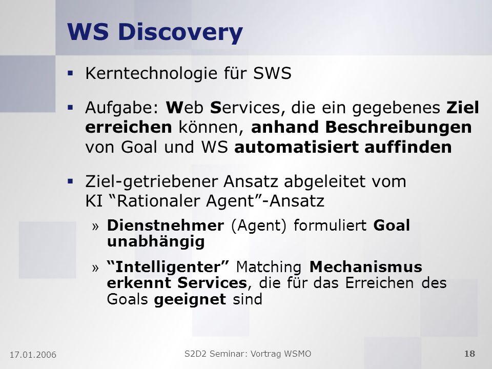 S2D2 Seminar: Vortrag WSMO18 17.01.2006 WS Discovery Kerntechnologie für SWS Aufgabe: Web Services, die ein gegebenes Ziel erreichen können, anhand Beschreibungen von Goal und WS automatisiert auffinden Ziel-getriebener Ansatz abgeleitet vom KI Rationaler Agent-Ansatz » Dienstnehmer (Agent) formuliert Goal unabhängig » Intelligenter Matching Mechanismus erkennt Services, die für das Erreichen des Goals geeignet sind