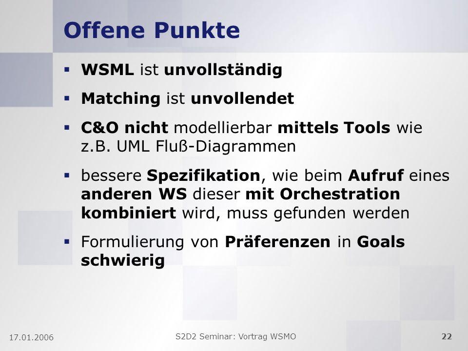 S2D2 Seminar: Vortrag WSMO22 17.01.2006 Offene Punkte WSML ist unvollständig Matching ist unvollendet C&O nicht modellierbar mittels Tools wie z.B.